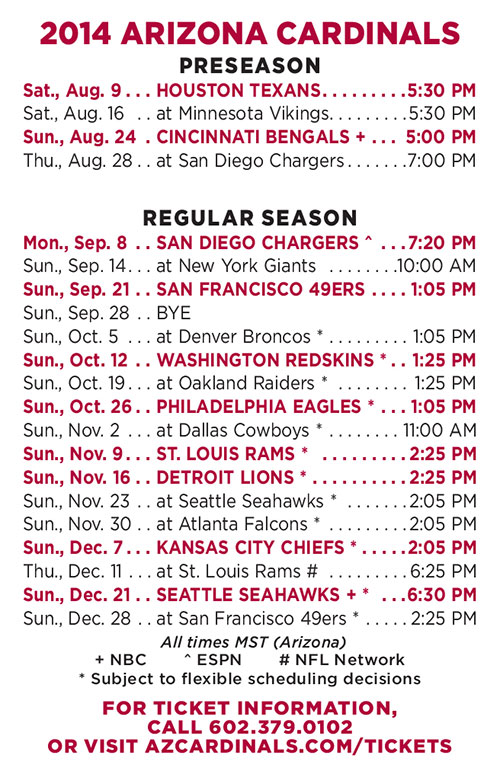 Arizona Cardinals 2014 Schedule Released – Open Monday Night